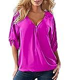 Damen T-Shirt V-Ausschnitt Locker Lässig Kurzarm Große Größen Mit Reißverschluss Mit Knöpfen Dünn Elegant Einfarbig Blouses Tops Hemd