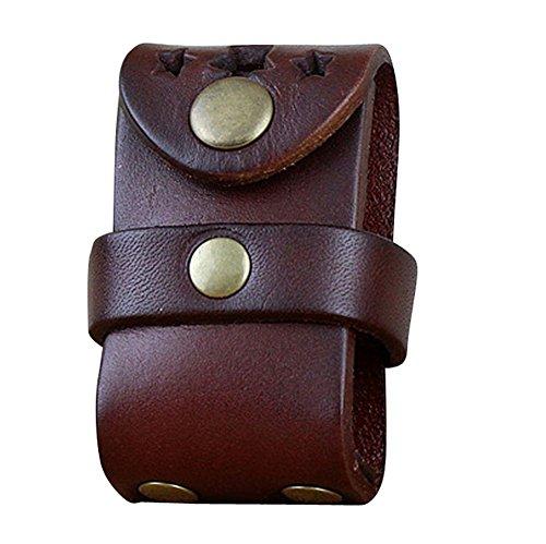 boshiho Herren Echtes Leder FlipTop Licht Tasche Halter mit Gürtelschlaufe, kastanienbraun, 2.91 * 1.57 * 1.37 inch -