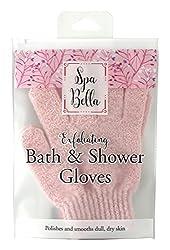 Spa Bella Exfoliating Bath & Shower Gloves, Pink