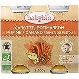Babybio Pots Carotte Potimarron Pomme/Canard Fermier du Poitou 400 g -