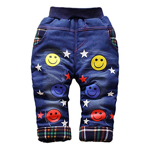 sunnymi 0-4 Jahre Baby Jungs Mädchen SAMT Jeans Libelle Brief Blumen Warme Hosen Trousers Pants