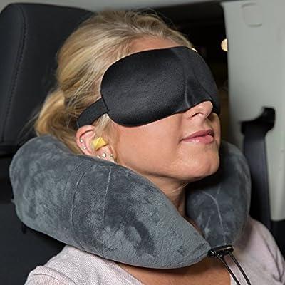 Reise-Nackenkissen | Nackenhörnchen aus Visco-Elastischem Memory-Schaum | Bonus: Tragetasche, Augenmaske & Ohrstöpsel