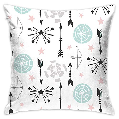 Archery Pattern Pillowcase - Zippered Pillow Case Cover, Pillow Protector, Throw Pillow Cover - Standard Size 18x18 Inch, Double-Sided Print Pillowcase Covers Black Flash Archery