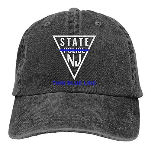 PhqonGoodThing New Jersey State Police - Thin Blue Line Baseball Cap Unisex Distressed Hats Adjustable Plain Cap -