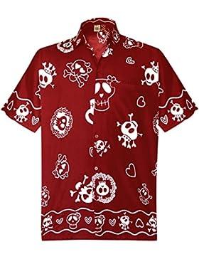 *La Leela* Pulsante Casual Cranio Spiaggia Spaventoso Giù Camicia Hawaiana Uomini Aloha Rosso
