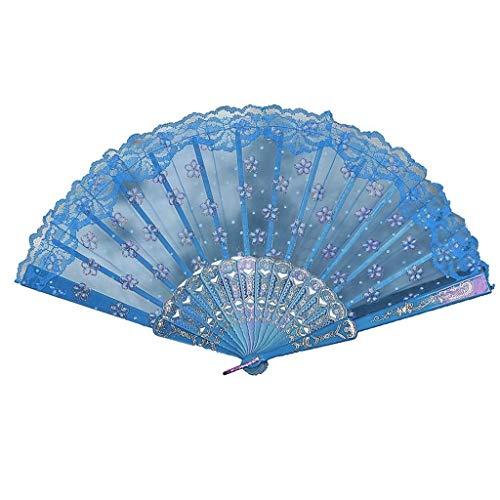 S_LLSL_ Overall Chinesischen Stil Spitze Seide Falten Hand Blume Fan Dance Fan Hochzeit Fan Prinzessin Fan Geschenk Fan (Color : Blue) (Blue Dance Kostüm Kleid)