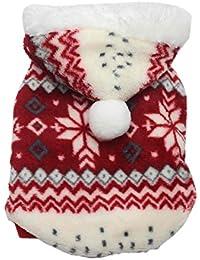SAMGU Vêtements de Noël Hoodie pull Manteau en velours à capuche pour chien Motif flocon de neige veste gilet