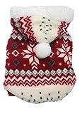Samgu Cappotto Caldo Animale Domestico Cane Felpa con Cappuccio Natale Inverno Maglione Costume Cane Color Rosso Size Medium