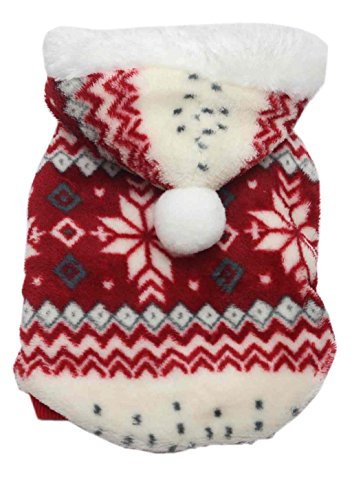 SAMGU Vêtements de Noël Hoodie pull Manteau en velours à capuche pour chien Motif flocon de neige veste gilet color rouge size Medium