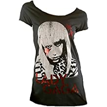 Amplified Damen Lady T-Shirt Holzkohle Grau Charcoal Gray Anthrazit Official LADY GAGA Merchandise Strass Stern Rock Star Designer Tunika Tunik Longshirt ViP