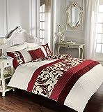 Luxus-Bettbezug-Sets mit Kissenbezug neue reversible Polycotton Bettwäsche (Scroll Rot, Einzel)