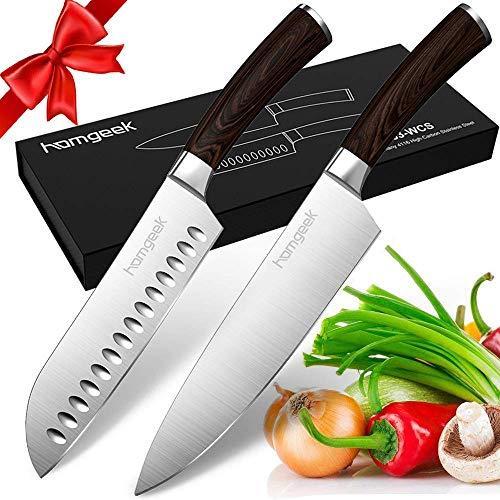 homgeek Kochmesser, 2-teilg Profi Messer Set, Extra Scharfe Santokumesser und Küchenmesser Set, Gemüsemesser aus Deutschem Messerstahl, Messerset aus Ergonomischer Griff