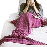 Meerjungfrau Schwanz Decke Schlafdecke Schlafsack Handgemachte Schwanz flosse Strickdecke Blanket soft weich Sofa Decke für Damen Erwachsene oder Kinder 180*80 cm