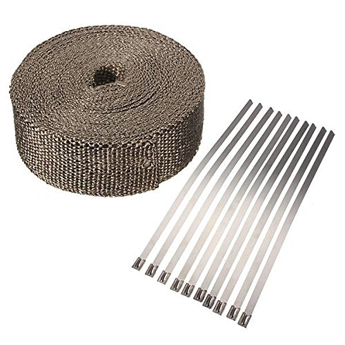 AUDEW Hitzeschutzband isolierband Auspuffband Auspuff Krümmer Kabelbinder 10mx5cmx2mm