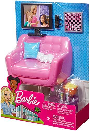 Barbie FXG36 - Möbel Spielset Wohnzimmer mit Kätzchen und Zubehör, Puppenzubehör Spielzeug ab 3 Jahren