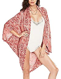 Valentine Day gifts for girlfriend(Printed Kimono style cover-up beach dress)