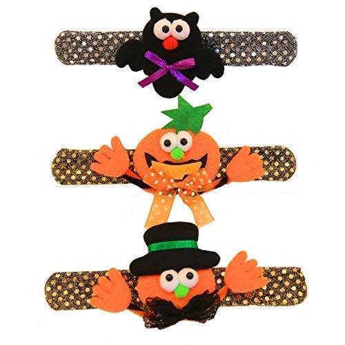 Gwill 21X3cm Halloween Leuchtende Kinder Armband mit LED-Licht Kürbis Plüsch Dekoration Armband pattiert Kreis Light-up Spielzeug Party Supplies Kids Gunst Geschenke
