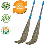 Pellcaso Chand Suraj Long Steel Handle Eco Friendly Soft Grass Floor Broom Stick (Phool Jhadu / Mop) For Cleaning - Pack Of 2