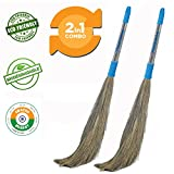#10: Pellcaso Chand Suraj Long Steel Handle Eco Friendly Soft Grass Floor Broom Stick (Phool Jhadu / Mop) For Cleaning - Pack Of 2