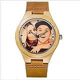 Benutzerdefinierte Marke Ihre eigenen Foto Watch einzigartige Bambus Holz Leder kausalen Quarz Männer Uhren angepasst Logo Geburtstagsgeschenk für Liebhaber
