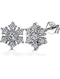 J.SHINE Damen Ohrringe Ohrstecker Schneeflocke Basic 925 Sterling Silber 3A 3mm Zirkonia Weihnachten Geschenk