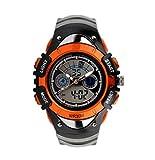 TOPCABIN Multifunktions-Elektronik Verkauf Uhren Jungen und Mädchen Mode und Persönlichkeit Studenten Wasserdichte Doppel-Zeit Kinder beobachten Tauchen Uhren (Orange)