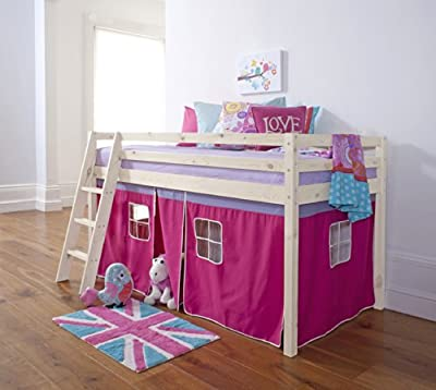 Noa and Nani Cabin Bed Mid Sleeper Bunk with Tent Pink in Whitewash 5758WW-PINK