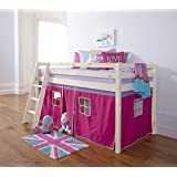 Cabin Bed Mid Sleeper Bunk with Tent Pink in Whitewash 5758WW-PINK