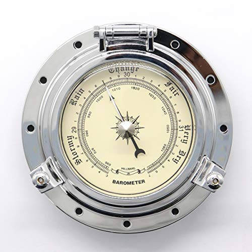 DyNamic Gold Chrome Roman Vintage Barometer Uhr Boot Marine Wohnmobil Van Caravan Wohnmobil RV - Chrome - Chrome Digital Uhr