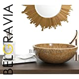 "Belgravia Marble® Natural Marble Stone Bathroom Basin Sink Counter Top Vessel Vanity Wash Bowl Bath Countertop Sink Deep Round (16"" X 6"", Bronze)"