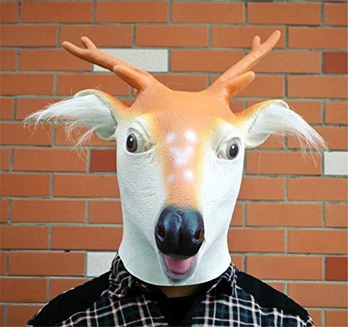 NUOKAI Halloween liefert Hirsch Kopf Maske Giraffe Maske Cosplay Tier Haube Tanz Ball Maske (Kopf Kostüm Giraffe)