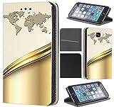 CoverHeld Hülle für Huawei P8 Lite 2017 Premium Flipcover Schutzhülle aus Kunstleder Flip Case Motiv (664 Abstract Weiß Gold mit Welt)
