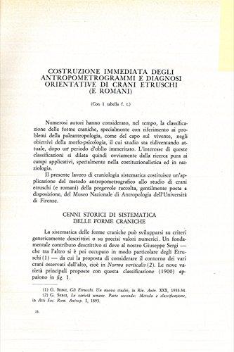 Costruzione immediata degli antropometrogrammi e diagnosi orientative di crani etruschi (e romani) .
