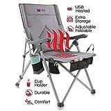 The Hot Seat, Sedia portatile riscaldata ideale per campeggio, sport all'aperto e picnic. Riscaldamento mediante USB, Braccioli XL, Borsa da viaggio XL, 5 tasche, Portabicchiere, Batteria NON inclusa.
