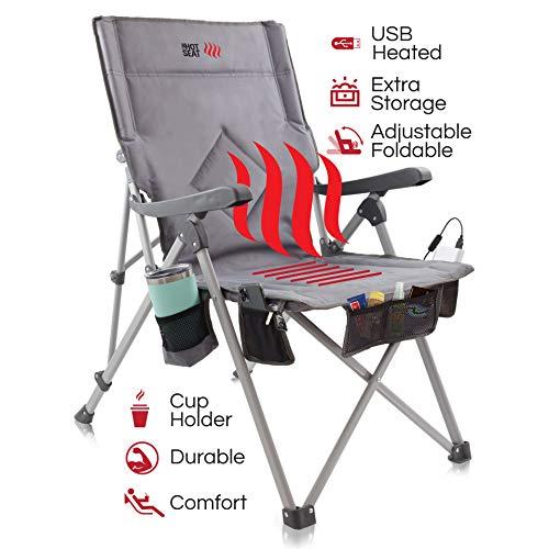 POP Design La Hot Seat, Silla portátil con calefacción Acampar, Deportes de Exterior, Playa y Picnic. Calefacción USB, reposabrazos XL,...