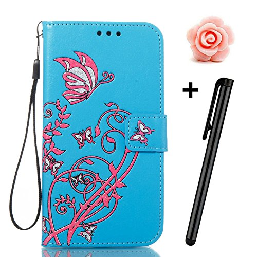 TOYYM iPhone SE Hülle,iPhone 5/5s Schutzhülle,Ultra Dünn PU Leder Bookstyle Tasche Flip Cover Wallet Brieftasche mit Ständerfunktion Kartenfächer Strap,Narcissus Muster Design Klapphülle Innerer Silik Blau