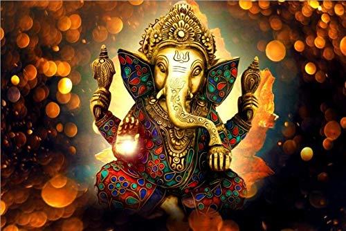 HXLFYM Leinwand-Kunstmalerei Moderne Hinduismus Poster Und Drucke Wall Art Öl Gemälde Indische Götter Ganesha Dekorative Bilder for Wohnzimmer Wohnkultur Gemälde (Size (Inch) : 40X60CM)