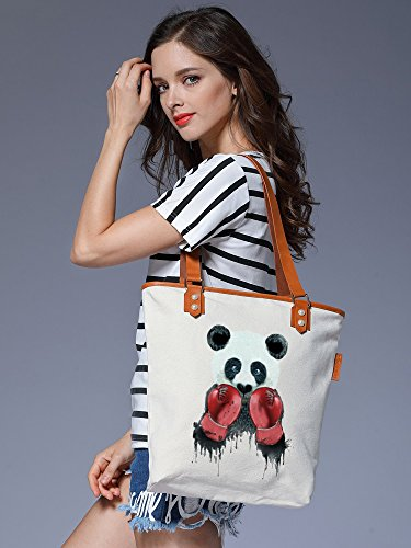 S.CHU Women's Panda Canvas Leather Tote Handbag Ladies Shoulder Bag Beige