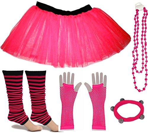 A-Express Rosa Mädchen Kinder 8-14 Jahr Neon Tütü Rock Gestreifte Beinstulpen Fischnetz Handschuhe Halskette Tüll Verkleidung Party TutuRock Kostüm Set