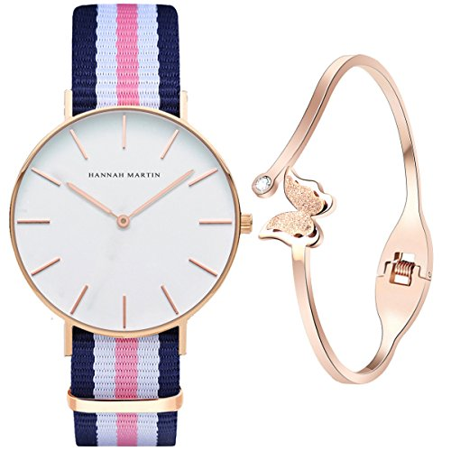 XLORDX Classic Damen Armbanduhr elegant Quarzuhr Uhr modisch Zeitloses Design klassisch Nylon...
