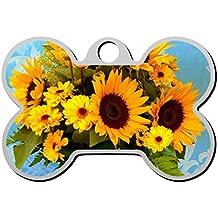 Sunflower - Etiqueta para Perro con Forma de Hueso de Gato y Cachorro, con Colgante