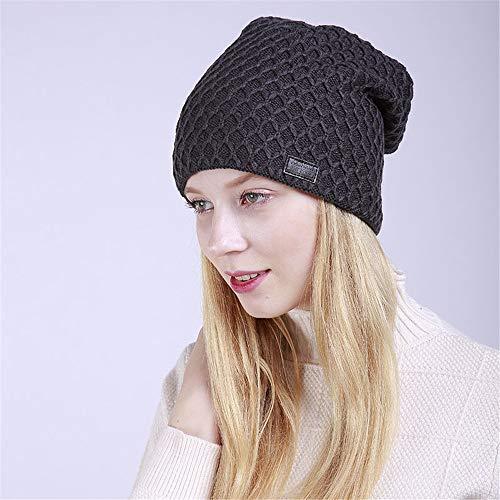 Wolle Warme Mütze Doppelfutter Winter Stricken tägliche Slouchy Hüte Hut (Farbe : Dunkelgrau)