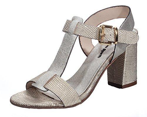 Marion Spath Damen 342-582 Glattleder Designer-Stegsandale gold/platin