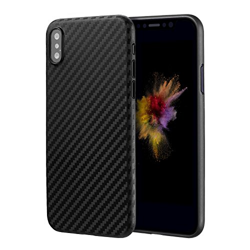 doupi UltraSlim Hülle für iPhone X, Carbon Fiber Look Kohlefaser Optik Ultra Dünn Handyhülle Cover Bumper Schutz Schale HardHülle für iPhone 10 (2017) Design Schutzhülle, schwarz