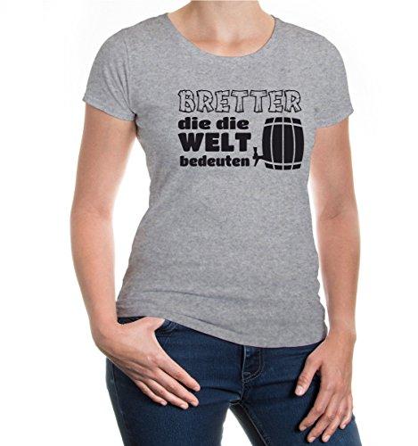 buXsbaum® Girlie T-Shirt Bretter die die Welt bedeuten Heathergrey-Black