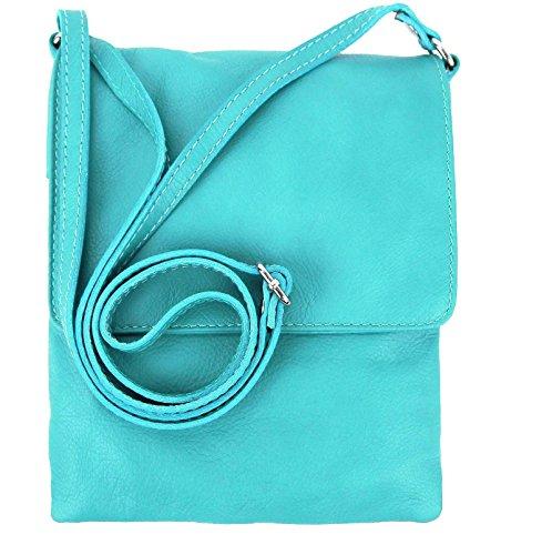 OBC ital. Kleine Schultertasche Schmucktasche Hand Made in Italy CrossOver iPad Mini Tablet 7'' Leder Tasche Umhängetasche Vera Pelle Ovye 18x22 cm (BxH) Türkis
