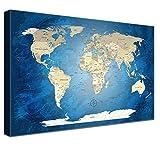 LANA KK Weltkarte Leinwandbild mit Korkrückwand zum pinnen der Reiseziele Deutsch Kunstdruck, Blaues Meer, 120 x 80 cm
