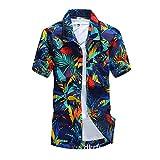 Mode Herren Hawaii-Hemden Sommer V-Neck Shirts Freizeit kurzärmeliges Tops Übergröße Blau Size 4XL