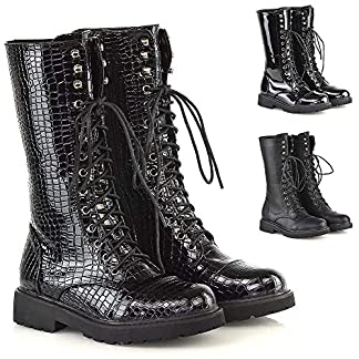 Womens Lace Up Boots Mid Calf Ankle Black Combat Punk Biker Goth Zip Shoes Size 3-8 15
