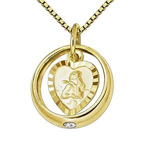 CLEVER SCHMUCK Set Goldener Kleiner Taufring glänzend mit Zirkonia weiß und Engel herzförmig seidenmatt Rand diamantiert 333 Gold 8 Karat & vergoldete Kette Venezia 36 cm im Etui